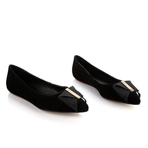 Slip Puntera Zapatos Bajo AllhqFashion Negro de Cuero Punta Vaca nbsp;Tacón Esmerilado Tacón Mujer on nbsp;de en z7qw7FY
