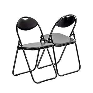 Chaise pliante rembourrée – pour le bureau – entièrement noire – lot de 2