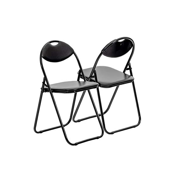 Chaise pliante rembourrée – pour le bureau – entièrement noire – lot de 6
