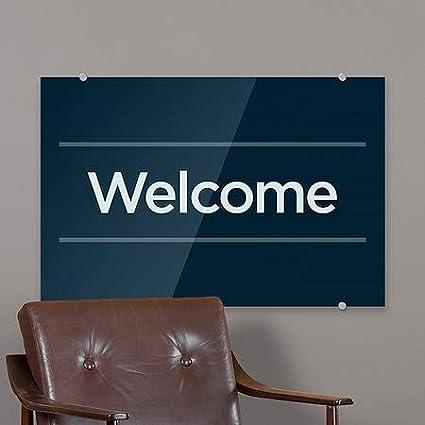 18x12 Basic Navy Premium Acrylic Sign Welcome CGSignLab 5-Pack