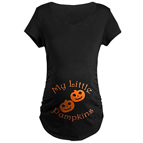 CafePress - Little Pumpkins Twins Halloween Maternity T-Shirt - Cotton Maternity T-shirt, Cute & Funny Pregnancy Tee