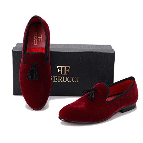 d1eae655e472d6 Handmade FERUCCI Burgundy Men Velvet Slippers loafers with Black Tassel  well-wreapped