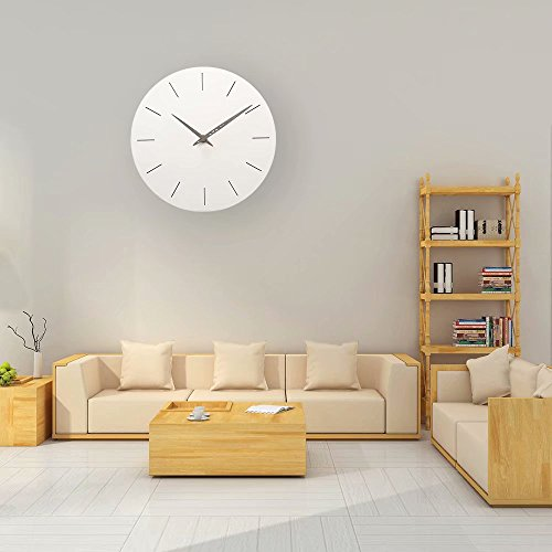 FlorLife White Round Wall Clock Non Ticking 12 Movement Decorative for Bathroom, Bedroom, Office