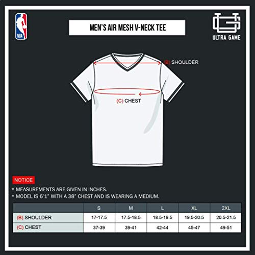 Ultra Game NBA Mens Jersey V-Neck Mesh Short Sleeve Tee Shirt