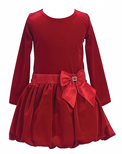 Little Girls Stretch Velvet Bubble Holiday Fall Christmas Dress 4 Red (Bubble Taffeta Red)
