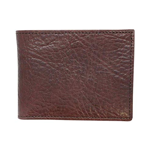 Brown Genuine Leather Wallet Bifold - Arizona Bison Grain - RFID Blocking - American Factory Direct - Slim Bill Fold - Made in USA by Real Leather Creations - Wallet Usa Genuine
