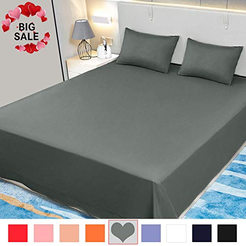 Allo Flat Sheet, Ultra Soft Breathable, Wrinkle Resistant, Hypoallergenic, No Fade Brushed Microfiber Flat Sheet, 1- Piece (Gray, Twin)