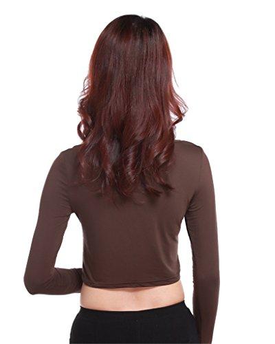 GladThink la mujer musulmana camiseta de manga larga de media longitud y Café