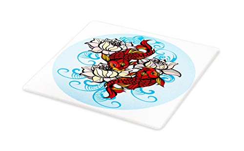 Lunarable Koi Fish Cutting Board, Hand Drawn Eastern Culture Artwork Flowers and Marine Animals and Nature Carp, Decorative Tempered Glass Cutting and Serving Board, Large Size, Multicolor by Lunarable