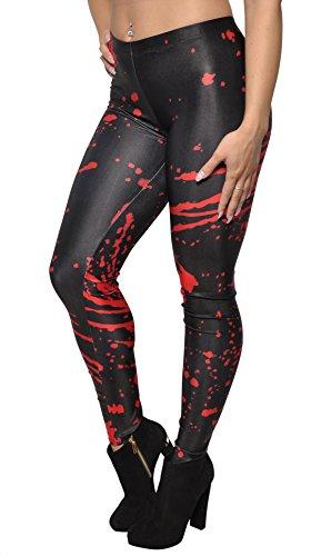 BadAssLeggings Women's Blood Splatters Leggings Medium Black -