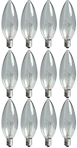 GE Lighting 73249 Crystal Clear 25-Watt, 220-Lumen Blunt Tip Touch Light Bulb with Candelabra Base, 12-Pack