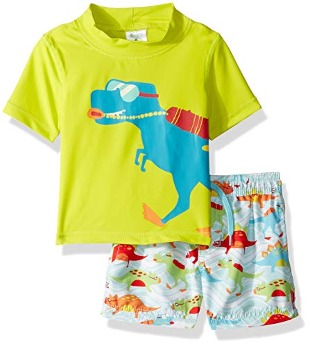 KIKO & MAX Baby Boys Swimsuit Set with Short Sleeve Rashguard Swim Shirt, Dinosaur Lifeguard Green, 18 Months]()