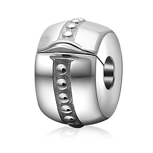 Clip Lock Charm Authentic 925 Sterling Silver Shiny Silver Clips Stoppers for Charms Bracelet (Dots Clip) - Pandora Clip Sterling Silver