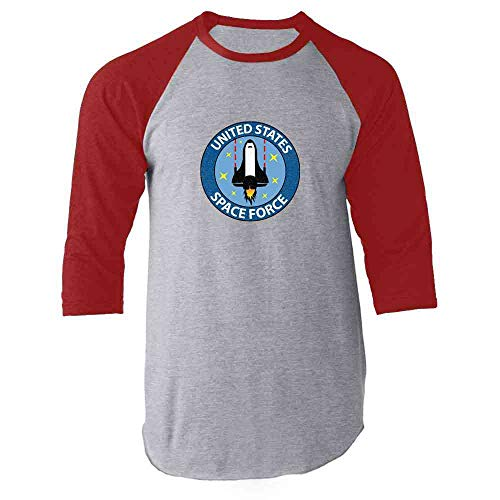 (United States Space Force Funny Politics Red M Raglan Baseball Tee Shirt)
