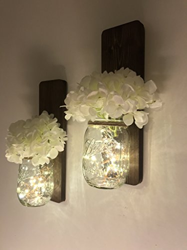 Tennessee Wicks Handmade Rustic Country Mason Jar Wall Sconce Set of Two, Choice of Lights and Flowers (Jar Mason Light Sconce Wall)