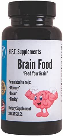 Nootropic Brain Support and Brain Function for Memory, Focus, Mental Clarity Brain Supplements | H.F.T. Supplements Brain Food | DMAE Ginkgo Bacopa Monnieri Rhodiola Rosea Vitamins B12 B6