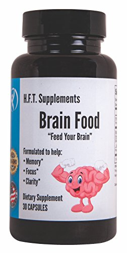 Nootropics Cognitive Brain Function Brain Support Memory and Focus Mental Clarity Brain Supplements | H.F.T. Supplements Brain Food | DMAE Ginkgo Bacopa Monnieri Rhodiola Rosea Memory Vitamins B12 B6