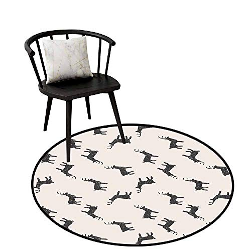 Area Rugs Round Circular Carpet Thick Deer,Deer