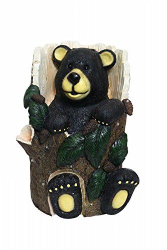 Alpine Corporation Bear Sitting in Tree Trunk Statue with Color Changing Leds Alpine Tree Bear