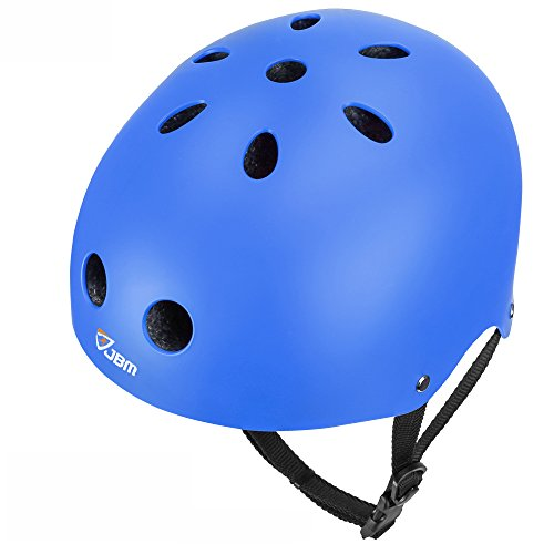 JBM international EPS foam Impact resistance & Ventilation Skateboard Helmet for Multi-sports, Medium - Blue -