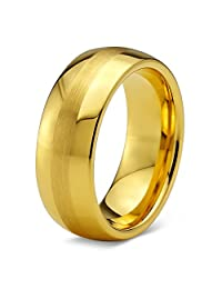 Tungsten Wedding Band Ring 8mm for Men Women Comfort Fit 18K Yellow Gold Plated Dome Brushed Polished
