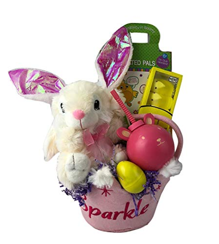 Easter Basket for Girls Prefilled and Wrapped Plush Bunny Peeps Craft for Kids Package (White Plush Bunny)