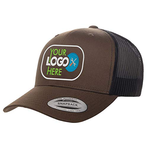 Custom Trucker Hat. Yupoong. Embroidered. Your Own Logo Curved Bill Snapback. (Coyote Brown/Black)