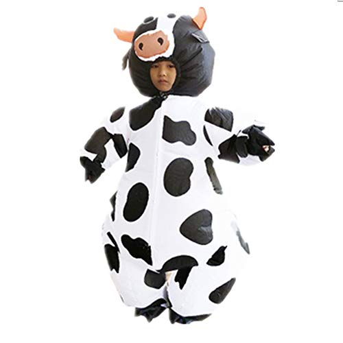 yunzhenbusiness Kids Inflatable Costume Halloween Cow Fancy Dress Suit White -