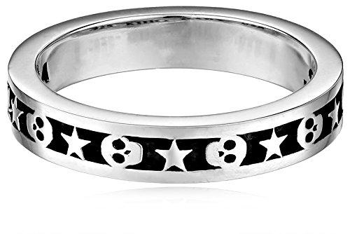 King Baby Studio Men's Stackable Skull & Star Ring Silver Ring 11