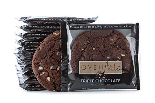 Triple Chocolate Cookies - Triple Chocolate Cookies - All Natural, All Butter, Delicious, Soft, Fresh Baked Cookies - No Artificial Colors or Flavors- Preservative Free - Kosher Dairy - 3.5 oz Pack | 12 Count