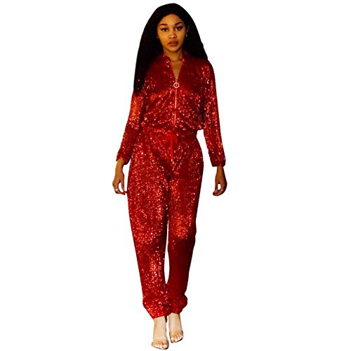 Women's Sexy Sequined Loose Jumpsuits with Belt Zipper Hight Waist Long Sleeve Autumn Bandage Romper Catsuit Party Clubwear,Red,S