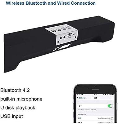 NO BRAND Feliz Barra de Sonido de TV, Bluetooth 4.2 Barra de Sonido, Canal 2.1, Bluetooth Compatible, de Modo Surround 3D, Modo de Juego, Barra de Sonido for la televisión de 10