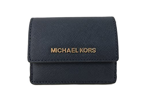 Michael Kors Jet Travel Leather Credit Card Case ID Key Holder Wallet in Navy (Michael Kors Rings Size 6)