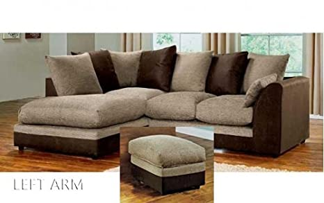 release date: be2ba 31e3e Abakus Direct Dylan Byron Corner Sofa Brown & Beige, Right ...