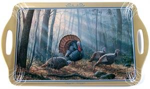 Millet Tray - Motorhead Products 11 by 18-Inch Melamine Serving Tray, Featuring Wild Wings Licensed Art with Turkeys by Rosemary Millette
