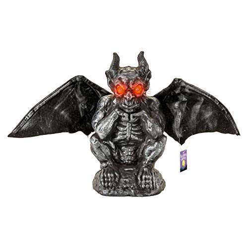 Halloween Haunters Animated Gargoyle with Flapping Wings Prop Decoration - Scary Evil Red LED Eyes and Spooky Howls & Laughs - Gothic Haunted House Cemetery Display ()