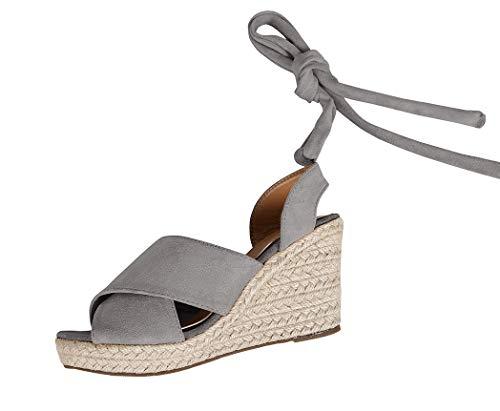 Syktkmx Womens Espadrille Platform Wedge Cross Strap Peep Toe Lace up Mid Heel Sandals