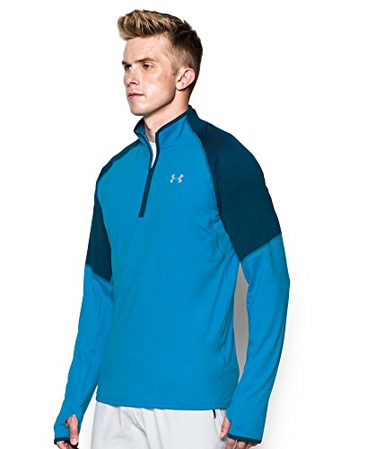 Under Armour Men's No Breaks Run 1/4 Zip, Brilliant Blue /Reflective, Small by Under Armour (Image #2)