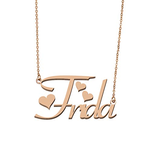 (Aoloshow Customized Custom Name Necklace Personalized - Custom Made Frida Necklace Initial Monogrammed Gift for Womens Girls)