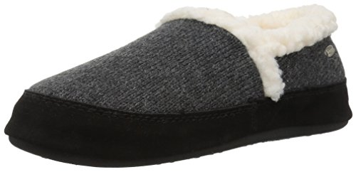 ACORN Women's Moc Ragg, Dark Charcoal Heather Ragg Wool, Small / 5-6