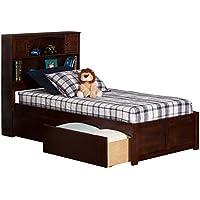 Newport Flat Panel Foot Board with 2 Urban Bed Drawers, Twin XL, Antique Walnut
