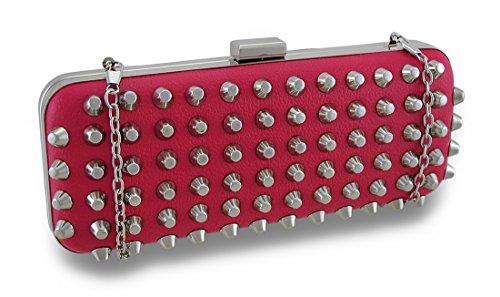 Handbag Shell Clutch Conical Fuchsia Purse Hard Chrome Studded TqwnPfBzA