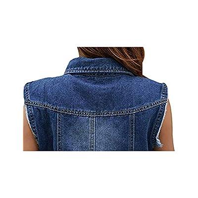 Tanming Women's Sleeveless Button Down Ripped Denim Jean Vest Waistcoat Jacket at Women's Coats Shop
