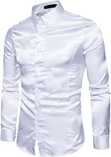 HENGAO Men's Long Sleeves Shiny Satin Button Down Slim Fit Prom Dress Shirt, White, L = Tag XL