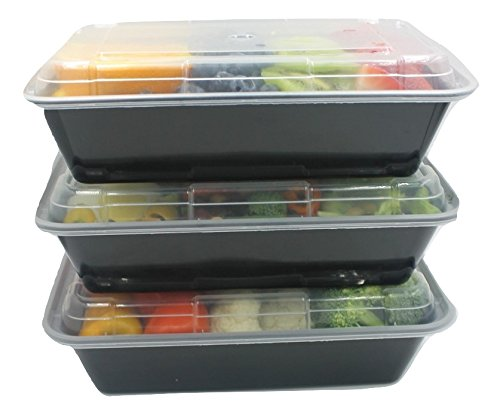 Meal Prep Containers Bento Box - Online Horizon (20 Pack) | 1 Compartment (32oz) Premium Food Tupperware Set with Lids - Portion Control Lunch Boxes Microwave/Freezer Safe | BPA-Free Durable/Stackable