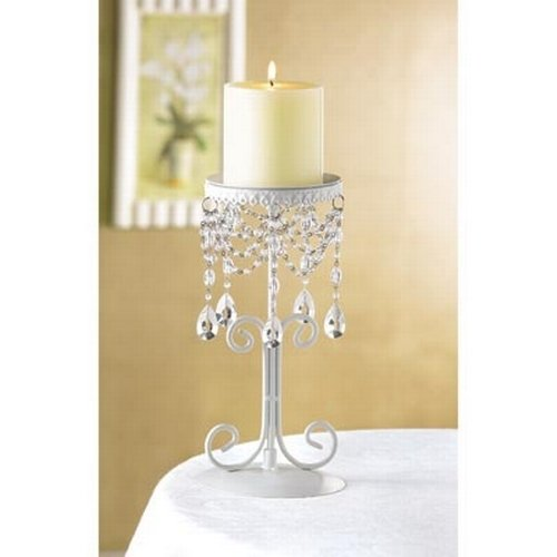 Christmas Tablescape Decor - Elegant beaded white shabby chic pillar candle holder