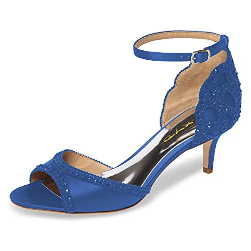 - XYD Ballroom Dance Shoes Wedding Sandals Pumps with Rhinestones Ankle Strap Peep Toe Heels for Women Size 8.5 Royal Blue