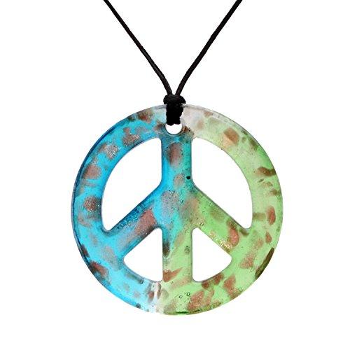(Bleek2sheek Murano-inspired Glass Aqua and Mint Green Peace Sign Pendant)