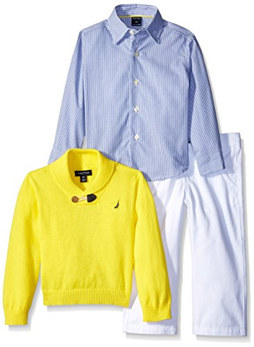 Nautica Boys' Three Piece Set with Shawl Sweater, Woven Shirt, and Twill Pant, Firefly, 4T
