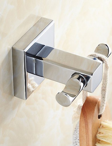 Polished Brass Euro Glass - LH Brass Material Chrome Finish Double Robe Hooks